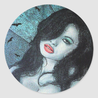Gothic vampire woman black hair original art ELD Classic Round Sticker