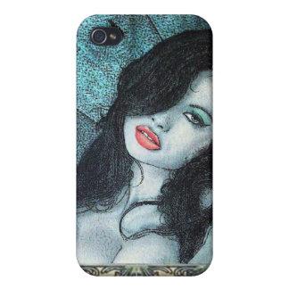 Gothic vampire woman black hair original art ELD iPhone 4 Cover
