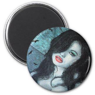 Gothic vampire woman black hair original art ELD Magnet