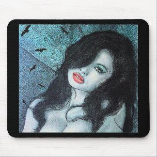 Gothic vampire woman black hair original art ELD Mouse Pad