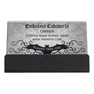 Decorative business card holders zazzle gothic victorian bat with swirls decorative desk business card holder colourmoves