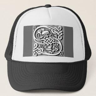 37c80c5b1ee Gothic victorian celtic renaissance monogram S Trucker Hat