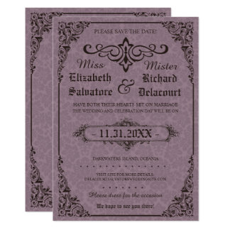 Gothic Victorian Damask Save the Dates Card
