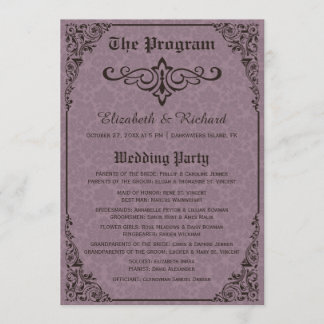 Gothic Victorian Damask Wedding Programs