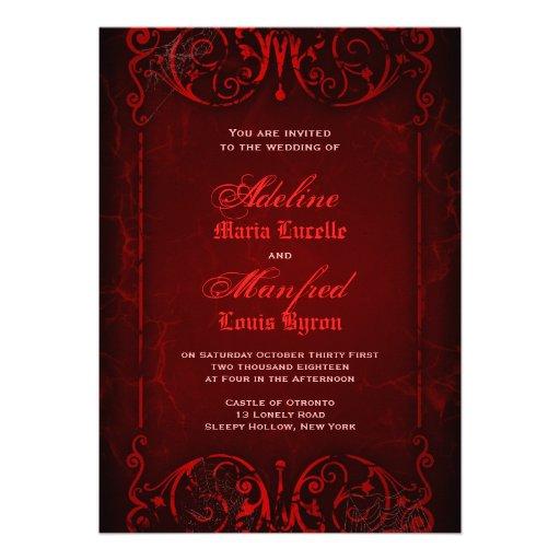 Gothic Victorian Deep Red Wedding Invitations