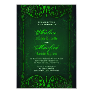Gothic Victorian Ghoulish Green Wedding 5x7 Paper Invitation Card