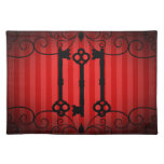 Gothic victorian old keys on red stripes cloth placemat