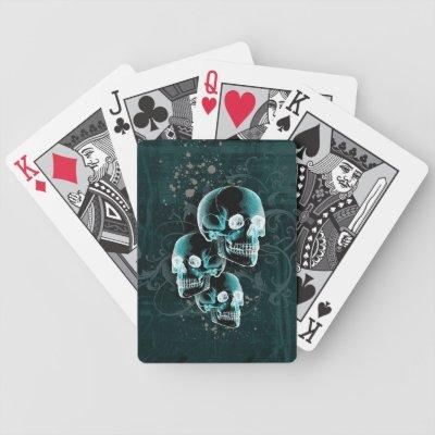 Gothic Victorian Skulls Design Poker Cards