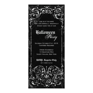 Gothic Victorian Spooky Black  Halloween Party 4x9.25 Paper Invitation Card