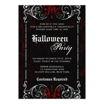 foreverwedding Gothic Victorian Spooky Black Red Halloween Party Card