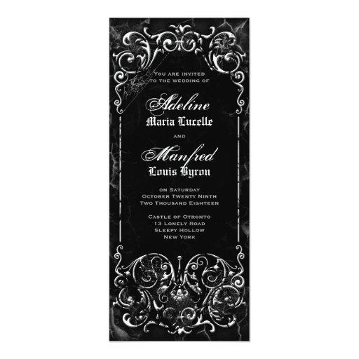 Gothic Victorian Spooky Black & White Wedding 4x9.25 Paper Invitation Card