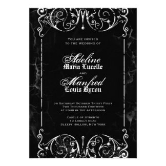 Gothic Victorian Spooky Black & White Wedding Personalized Announcements