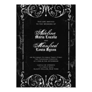 Gothic Victorian Spooky Black & White Wedding 5x7 Paper Invitation Card