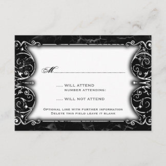 Gothic Victorian Spooky Black & White Wedding RSVP