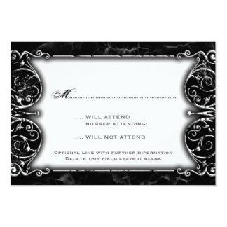 Gothic Victorian Spooky Black & White Wedding RSVP Card
