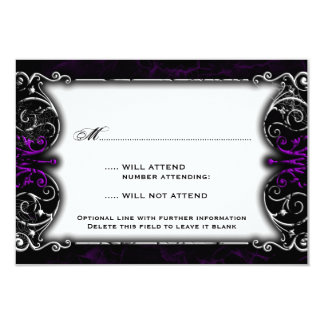 Gothic Victorian Spooky Purple RSVP Card Custom Invitations