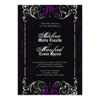 Gothic Victorian Spooky Purple Wedding Invite