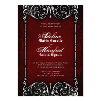 Gothic Victorian Spooky Red, Black & White Wedding Custom Invitation