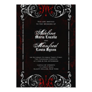 Gothic Victorian Spooky Red, Black & White Wedding Invitation