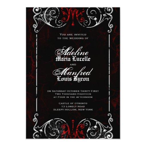 gothic victorian spooky red  black  u0026 white wedding 5x7