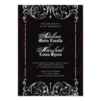 Gothic Victorian Spooky Red, Black & White Wedding Invitation