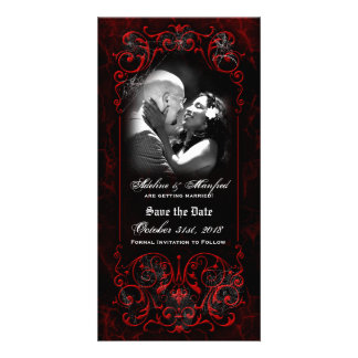 Gothic Victorian Spooky Red Custom Save the Date Photo Card