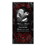 Gothic Victorian Spooky Red Custom Save the Date Personalized Photo Card