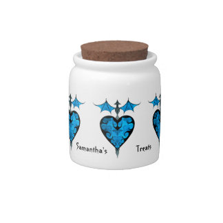 Gothic victorian staked vampire heart in blue candy jar