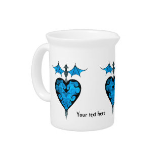 Gothic victorian staked vampire heart in blue drink pitchers
