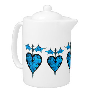 Gothic victorian staked vampire heart in blue