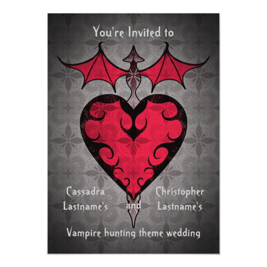 Gothic victorian staked vampire heart in red card