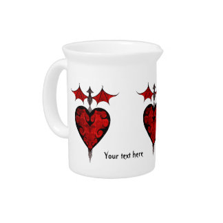Gothic victorian staked vampire heart in red drink pitchers