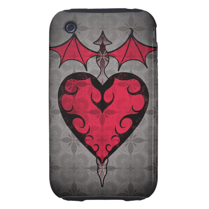 Gothic victorian staked vampire heart in red iPhone 3 tough case