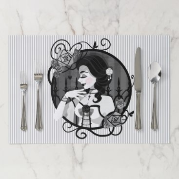 Halloween Themed Gothic Victorian Vampire Portrait Paper Placemat