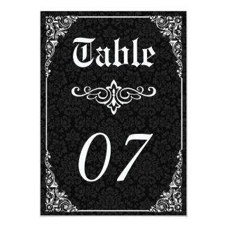 Gothic Victorian Wedding Table Numbers 5x7 Paper Invitation Card