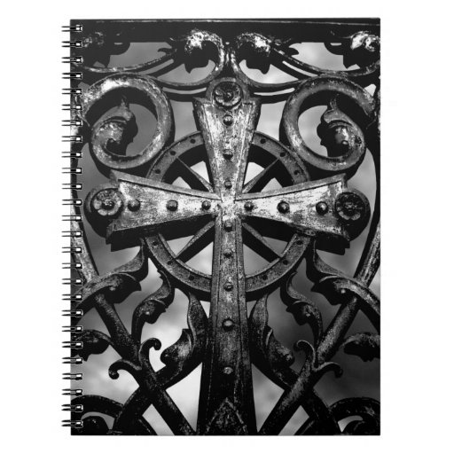 Gothic victorian wrought iron celtic cross notebooks