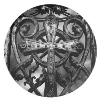 Gothic victorian wrought iron celtic cross dinner plates