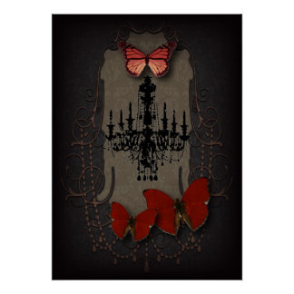 Gothic Vintage Black Chandelier Red Butterfly Poster
