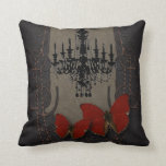 Gothic Vintage Black Chandelier Red Butterfly Throw Pillows
