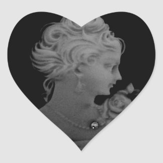 Gothic Vintage Ghost Cameo Heart Sticker