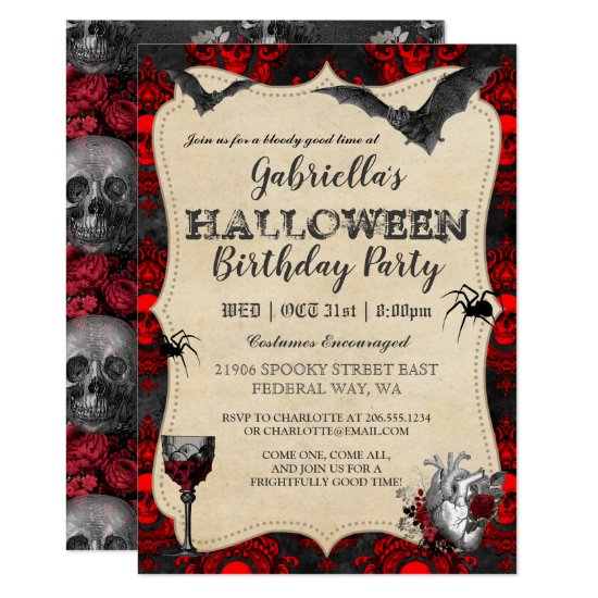 Gothic Vintage Halloween Birthday Party Invitation