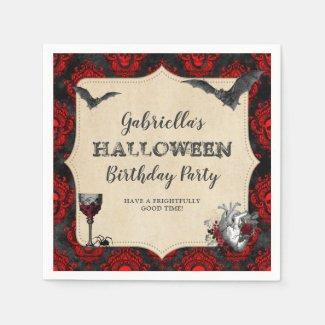 Gothic Vintage Halloween Birthday Party Napkins