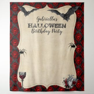 Gothic Vintage Halloween Birthday Party Tapestry