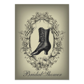 Gothic vintage shoe victorian bridal shower card