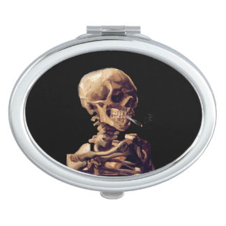 Gothic vintage Smoking skeleton by Van Gogh Makeup Mirror