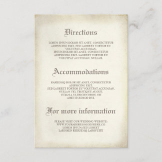 Gothic Vintage Wedding Details - Information Enclosure Card