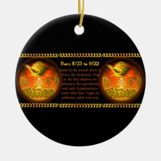Gothic Virgo zodiac astrology by Valxart.com Double-Sided Ceramic Round Christmas Ornament