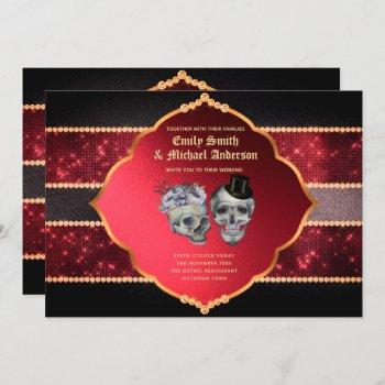 Gothic Wedding Deep Red Grey Gold Skulls Invitation