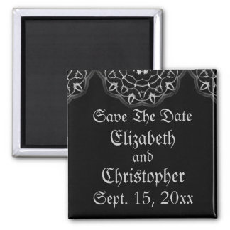 Gothic wedding elegant save the date refrigerator magnets