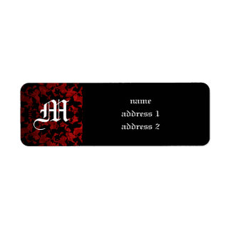 Gothic wedding monogram return address labels